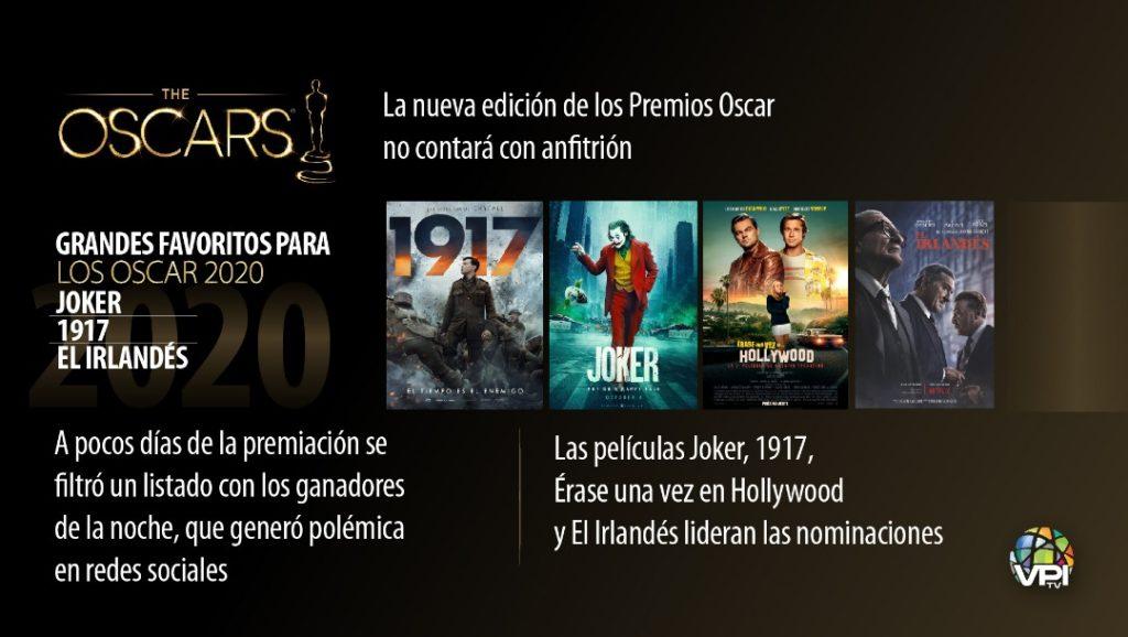 Joker, 1917 y El Irlandés son las películas que lideran los Oscars 2020 | Infografía: VPItv.com