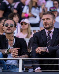 Marc Anthony disfrutó de un juego de fútbol junto a David Beckham en Miami