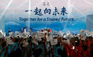 ceremonia de lanzamiento del lema para los Juegos Olímpicos y Paralímpicos de Pekín-2022, el 17 de septiembre de 2021 WANG Zhao AFP