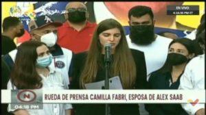 Camilla Fabri, esposa de Alex Saab, desde la Plaza Bolívar de Caracas.