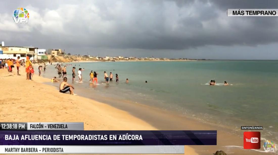 Baja afluencia de temporadistas en playas de Adícora (Falcón)