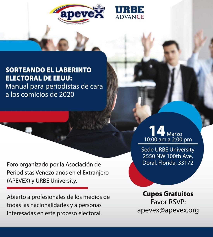 """APEVEX y Urbe University invitan a """"Sorteando el laberinto electoral de EEUU: Manual para periodistas de cara a los comicios de 2020"""""""