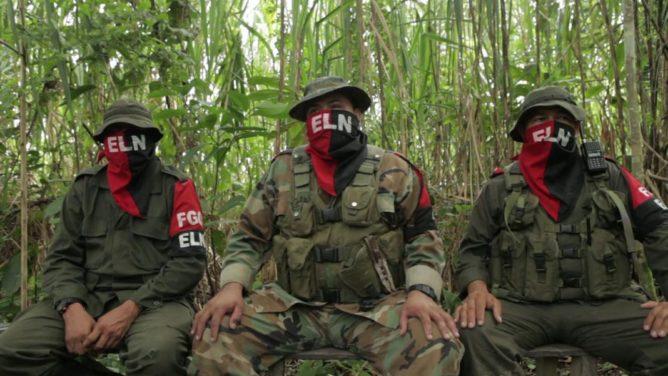 Guerrillas colombianas del ELN. Esta alocución se presume fue realizada en Venezuela. Foto: AFP