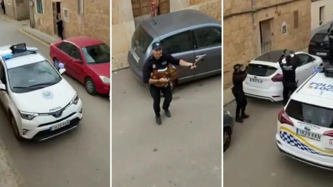 Policía de Mallorca canta en tiempos de coronavirus | Foto: Cortesía