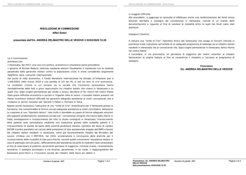 Resolución presentada por el diputado Andrea Delmastro ante el Parlamento italiano para beneficiar a ciudadanos venezolanos e italo-venezolanos en esa nación