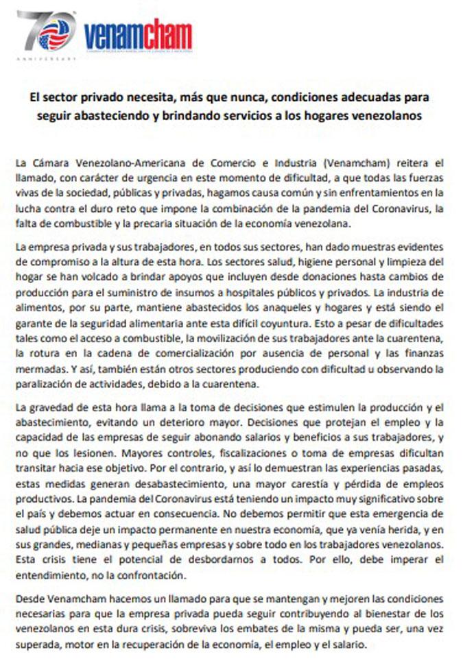 Venamcham sobre fiscalizaciones a comercios en Venezuela