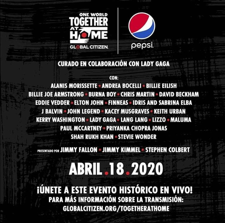 One World: Together at Home: concierto en apoyo a la lucha contra la pandemia