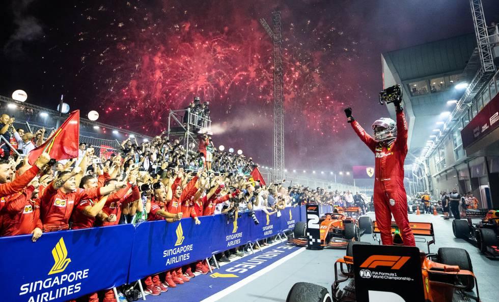 Vettel en victoria de Singapur 2019