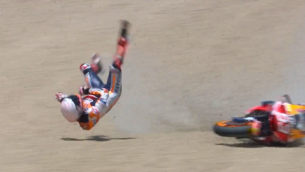 Malas noticias para Honda: Marc Márquez se lesionó el hombro derecho
