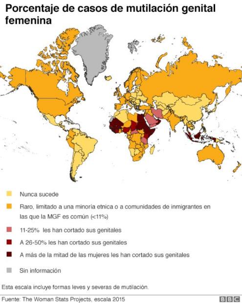 Mapa de calor que detalla los países en los que se practica la MGF