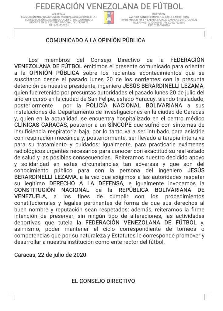Comunicado de la FVF sobre situación de su presidente, Jesús Berardinelli