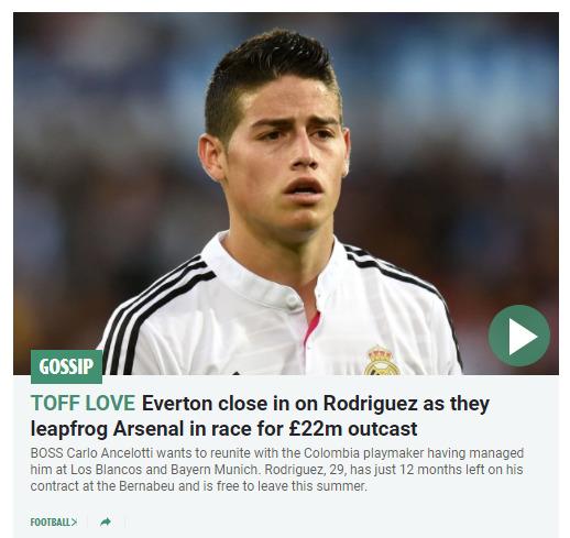 El tabloide inglés The Sun da por hecho el fichaje de James por el Everton