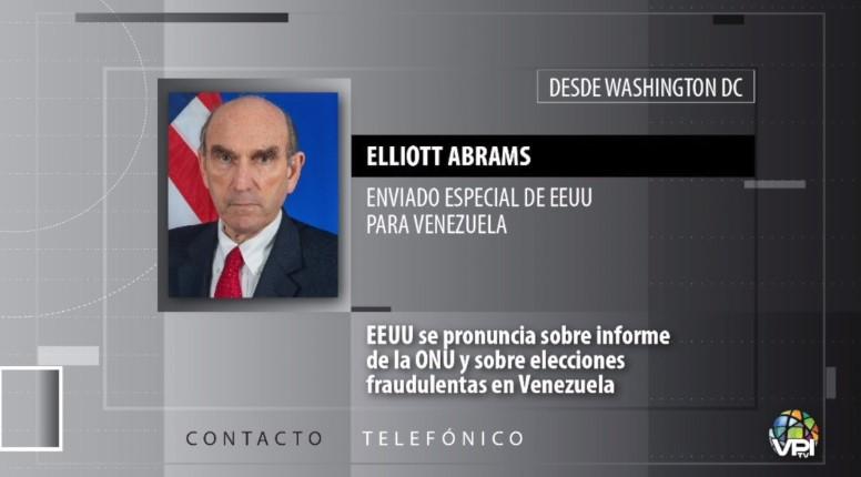 """Abrams expresó preocupación por un posible acuerdo para que la UE monitoree """"farsa electoral"""""""