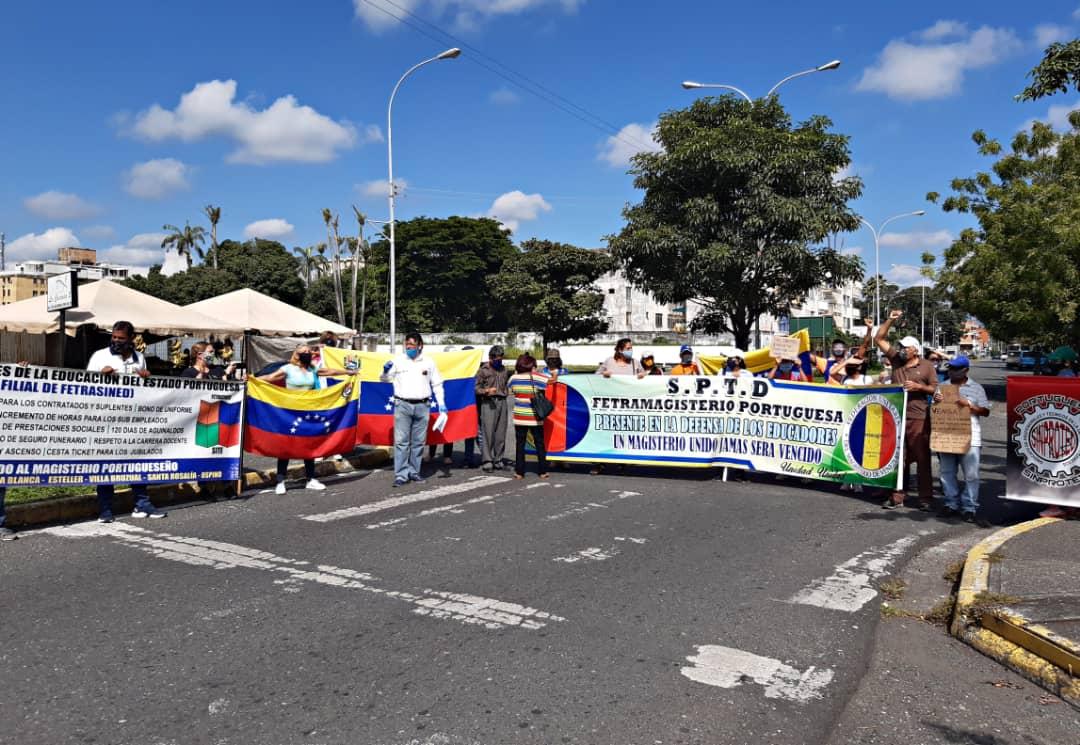 No abandonan las calles: docentes protestaron en Portuguesa