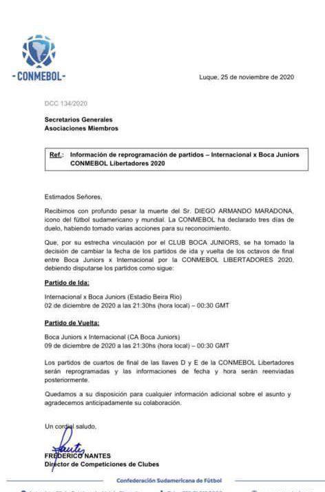 Comunicado de la Conmebol sobre aplazamiento del Boca Juniors - Internacional